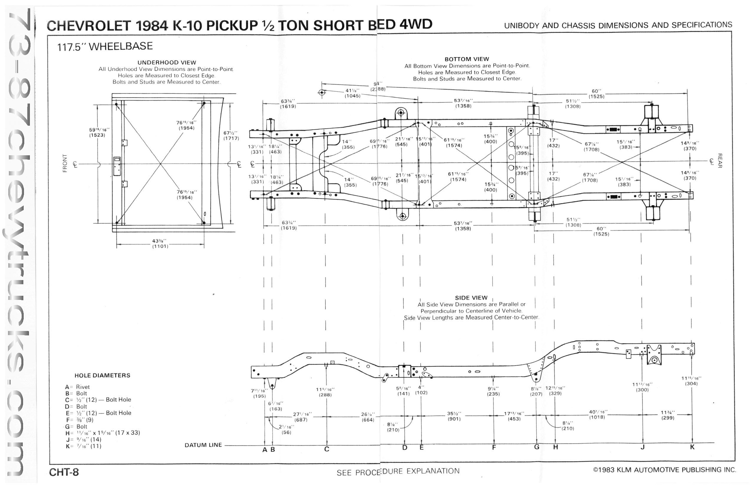 1950 chevy pickup frame dimensions