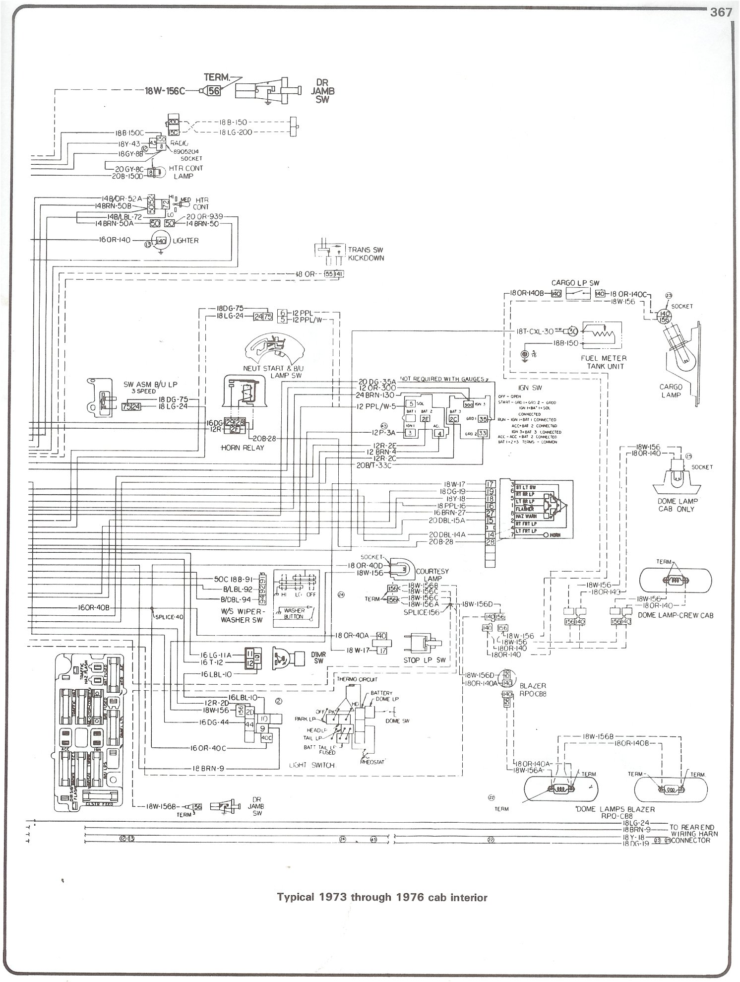 73 76_cab_inter complete 73 87 wiring diagrams 2001 chevy silverado instrument cluster wiring diagram at gsmportal.co