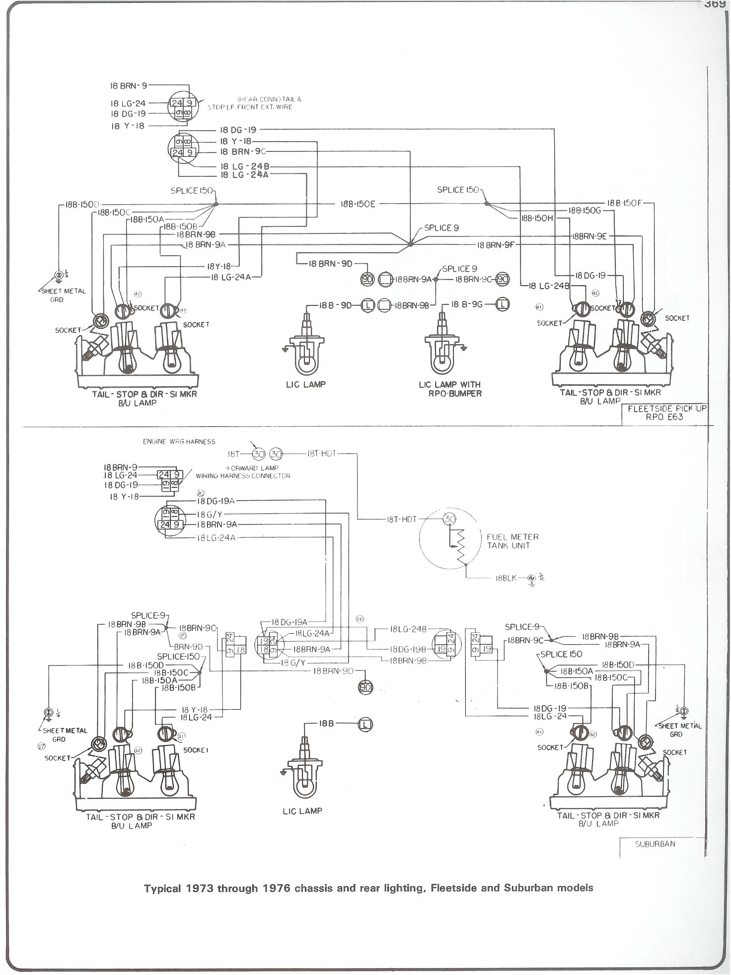 Complete 73 87 Wiring Diagrams Light Schematic Diagram 76 Chassis Rear Lighting Fleetside And Suburban