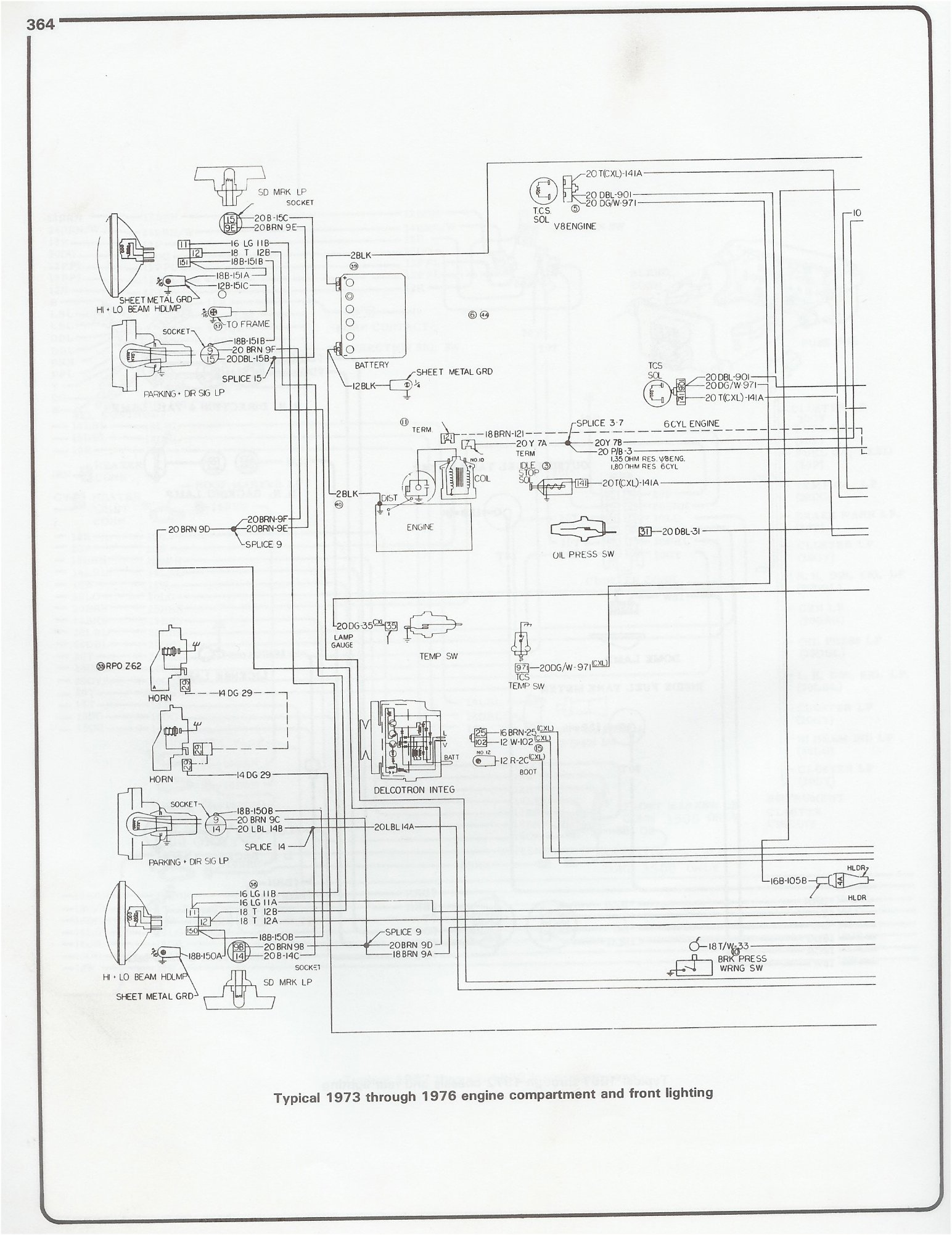 73 76_eng_frt_light complete 73 87 wiring diagrams Ford Alternator Wiring Diagram at reclaimingppi.co