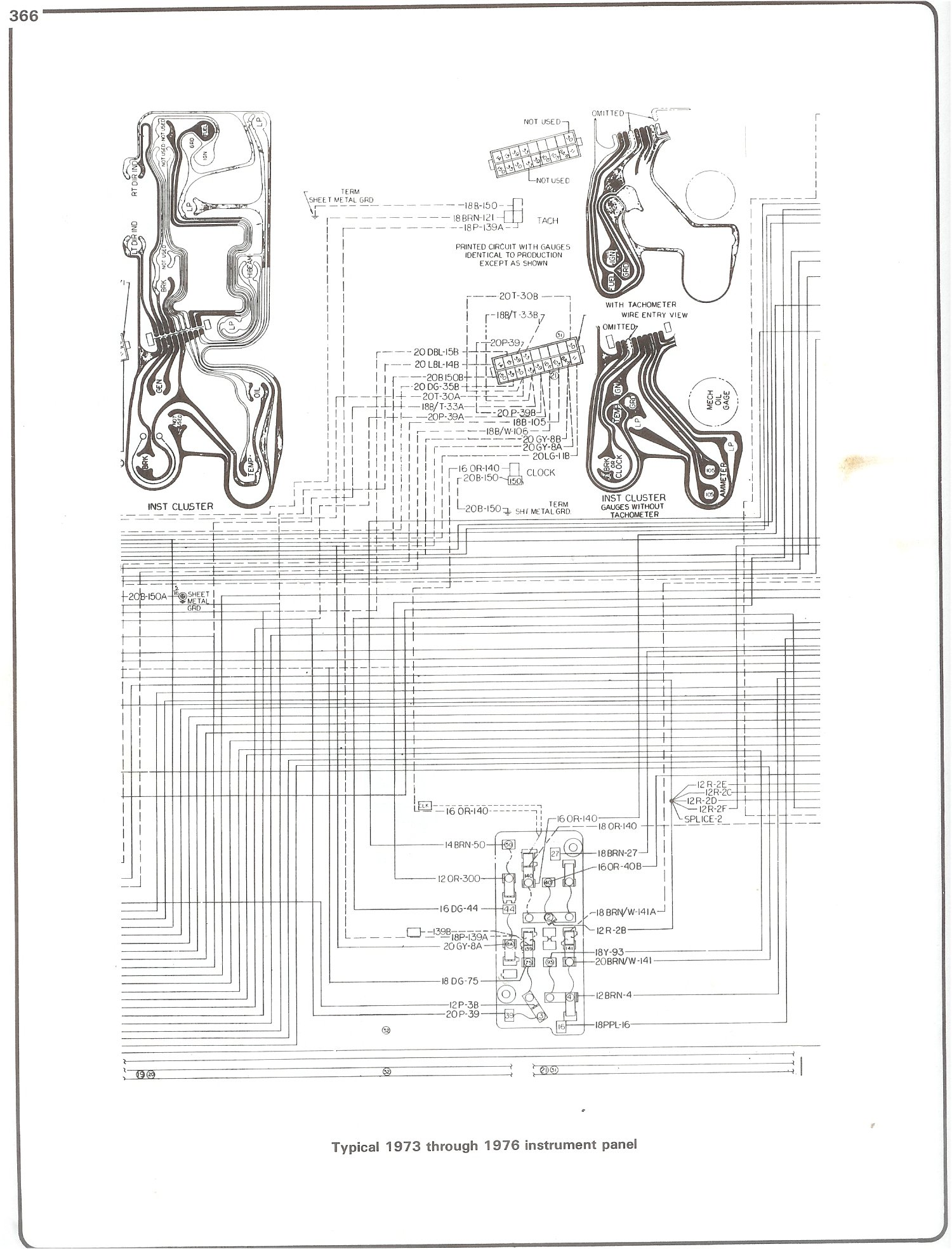 Complete 73 87 Wiring Diagrams V8 Chevy Engine Diagram 1977 76 Instrument Cluster