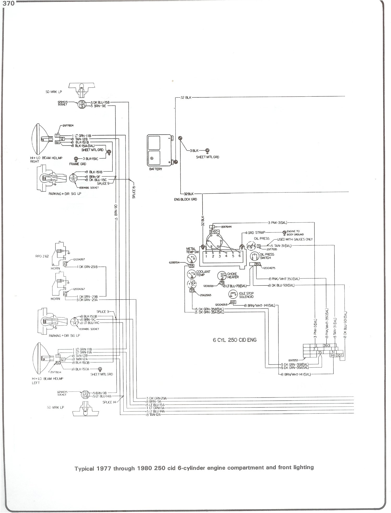 Complete 73 87 Wiring Diagrams Basic Starter Diagram 77 80 250 I6 Engine And Front Lighting