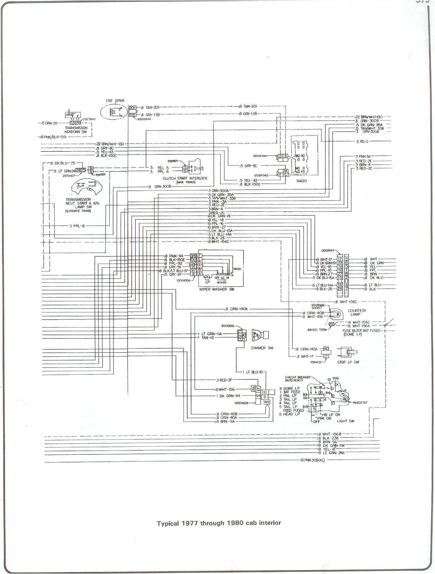 Complete 73 87 Wiring Diagrams Panel From Chevy Tail Light Diagram Lights Fuse To 1975 77 80 Cab Interior