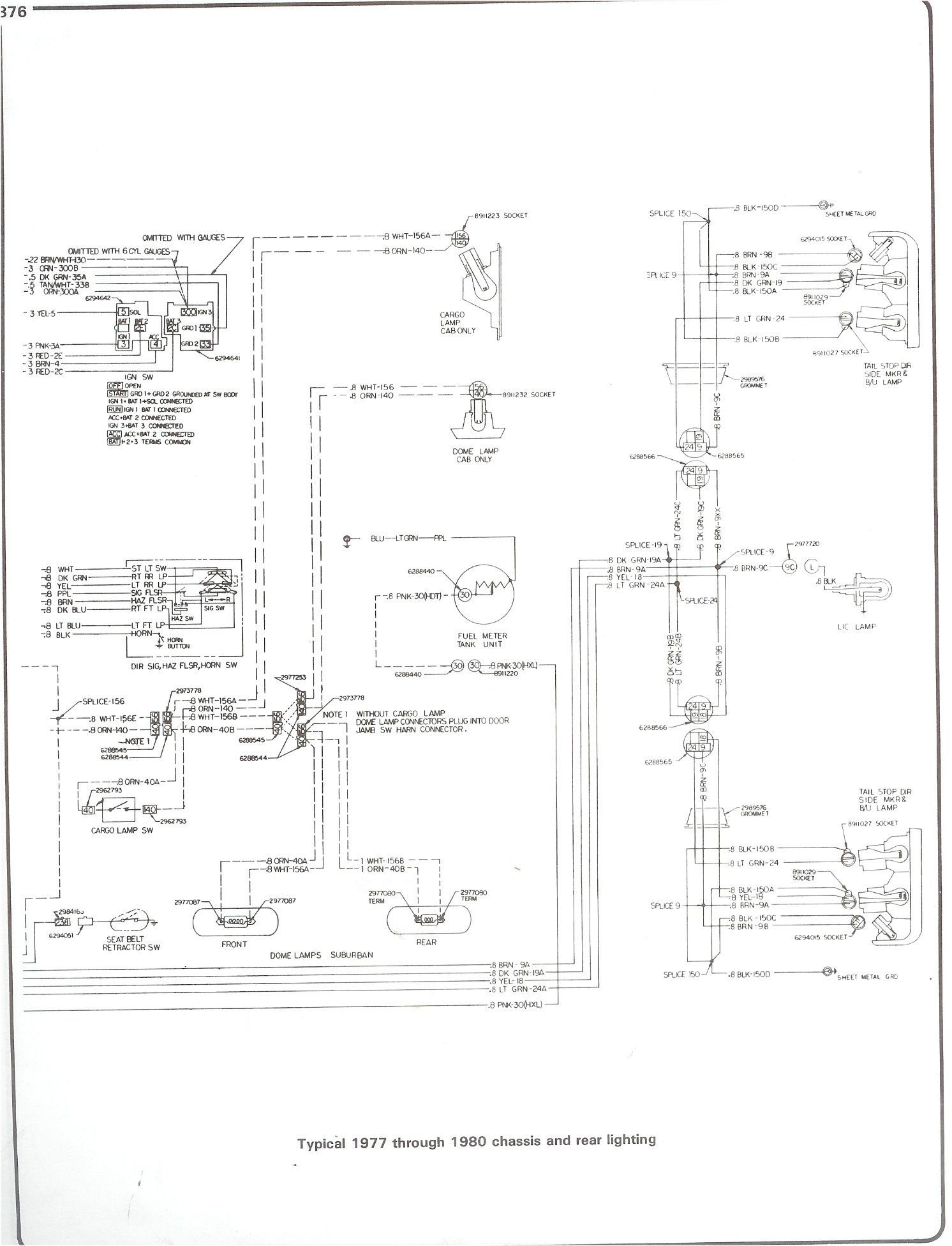 Complete 73 87 Wiring Diagrams 1987 Chev Pickup Diagram Fuel 77 80 Chassis And Rear Lighting