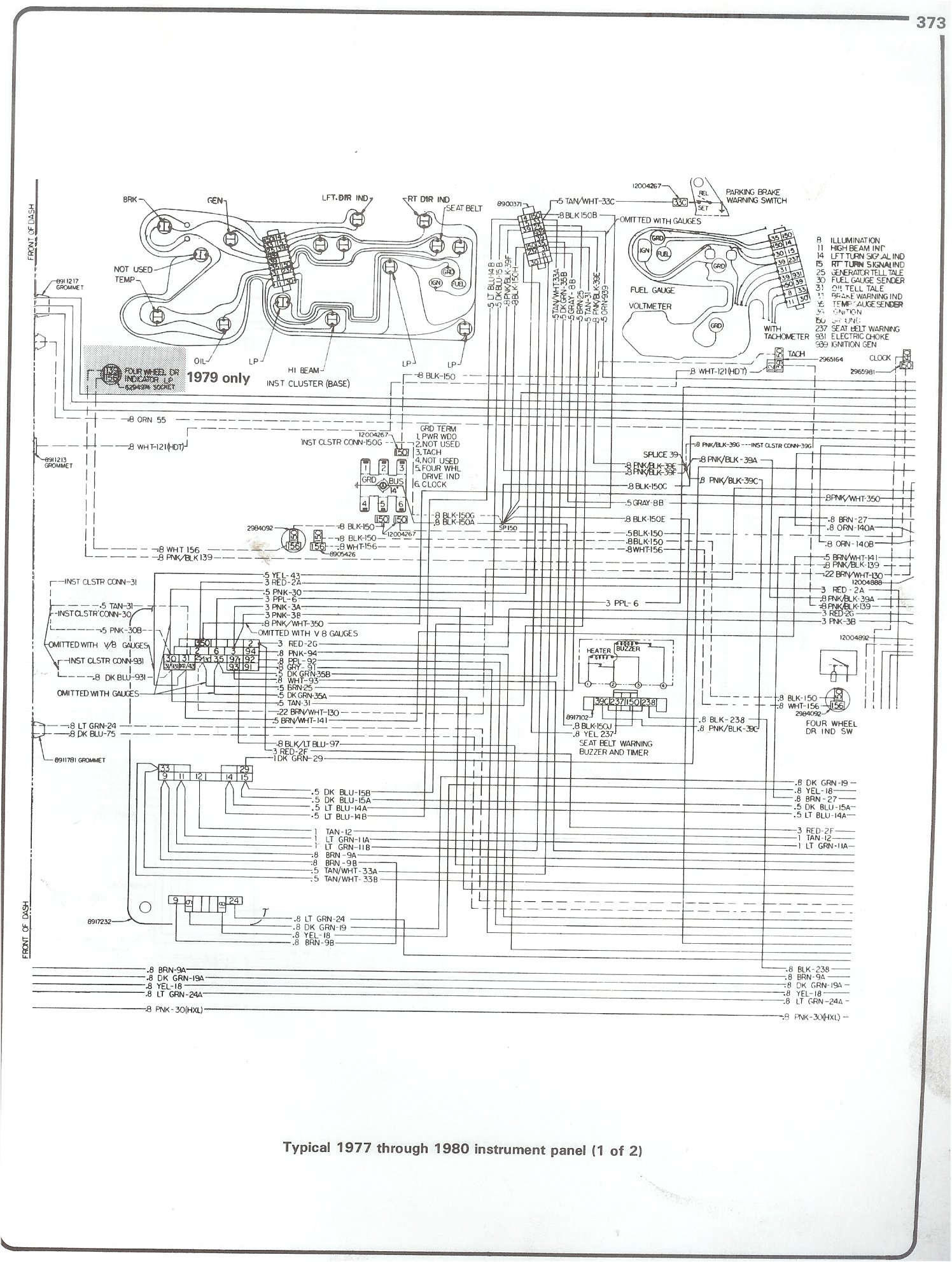 Complete 73 87 Wiring Diagrams 80 El Camino Underhood Diagram 77 Intrument Panel Page 1