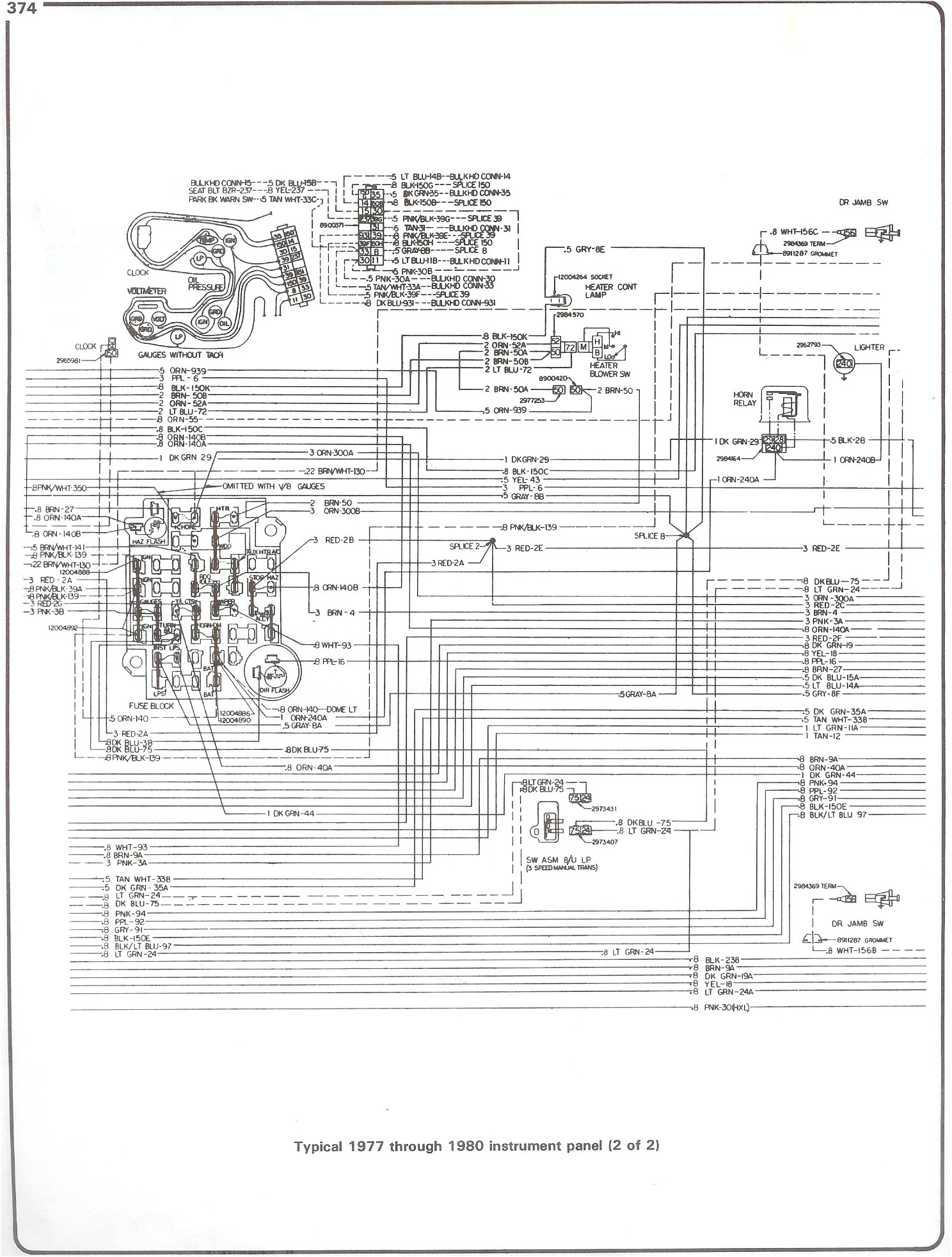 complete 73 87 wiring diagrams 77 80 intrument panel page 2