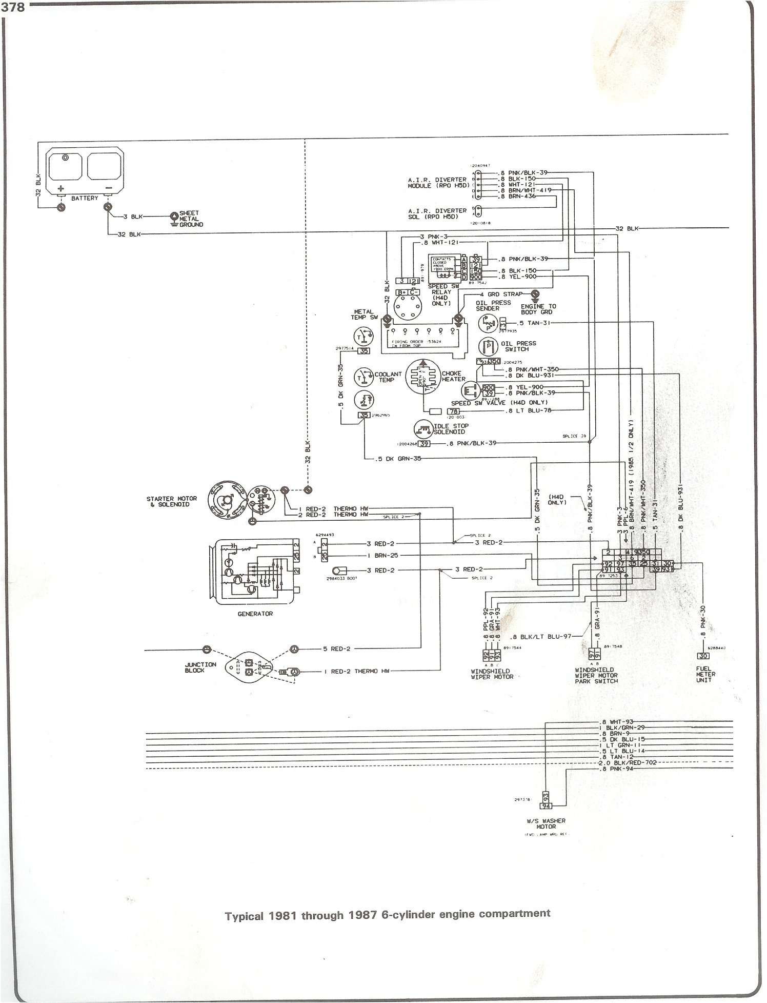 Complete 73 87 Wiring Diagrams 1995 Gm Pcm Pinout Diagram 1981 Camaro For Power 81 I6 Engine Compartment