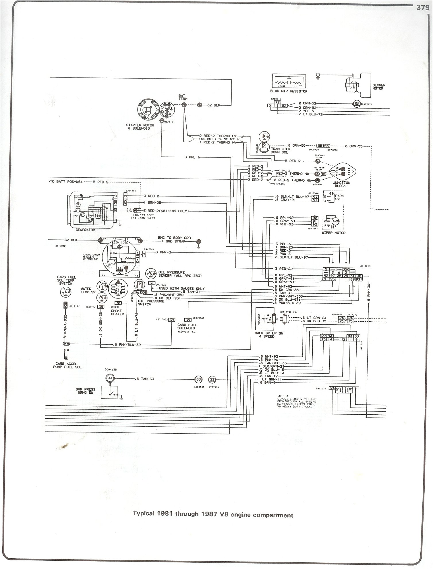 complete 73 87 wiring diagrams 1979 k5 blazer wiring diagram 81 87 v8  engine compartment