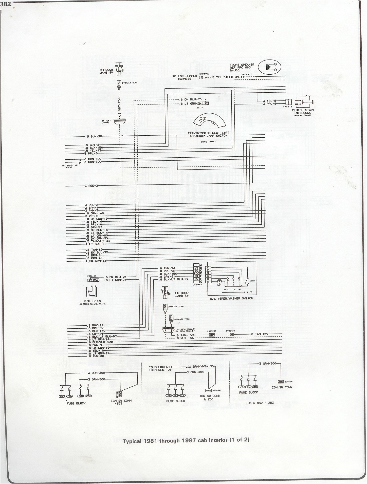 81-87 I6 Engine Compartment · 81-87 V8 Engine Compartment · 81-87  Instrument Panel Page 1 · 81-87 Instrument Panel Page 2 · 81-87 computer  control wiring