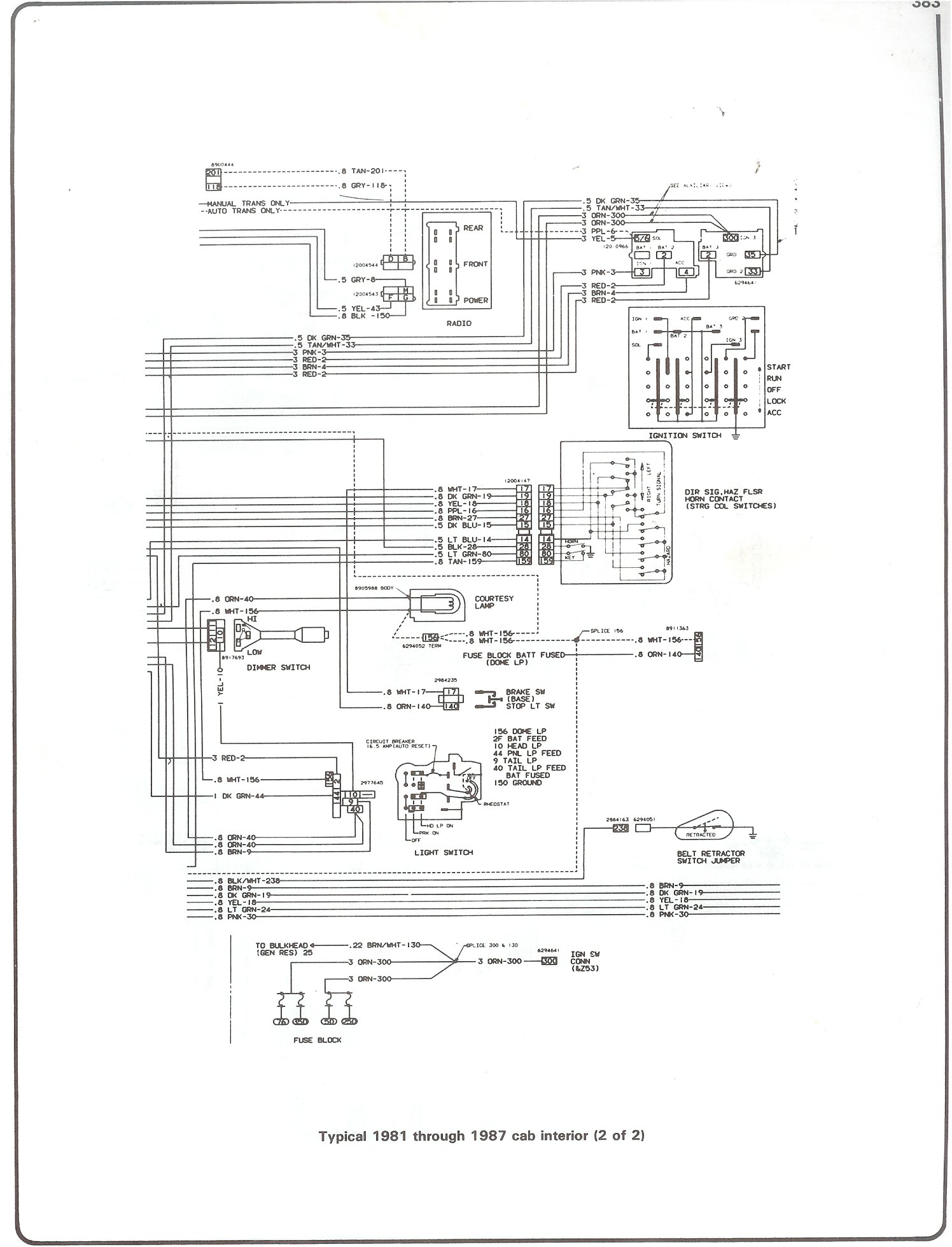 Complete 73 87 Wiring Diagrams Ignition Diagram 86 Chevy 305 81 Cab Interior Page 2