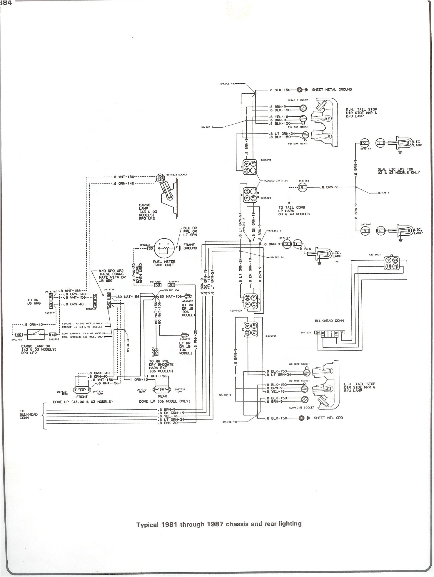 complete 73 87 wiring diagrams 1995 chevy lumina fuse box diagram 81 87 chassis and rear lighting