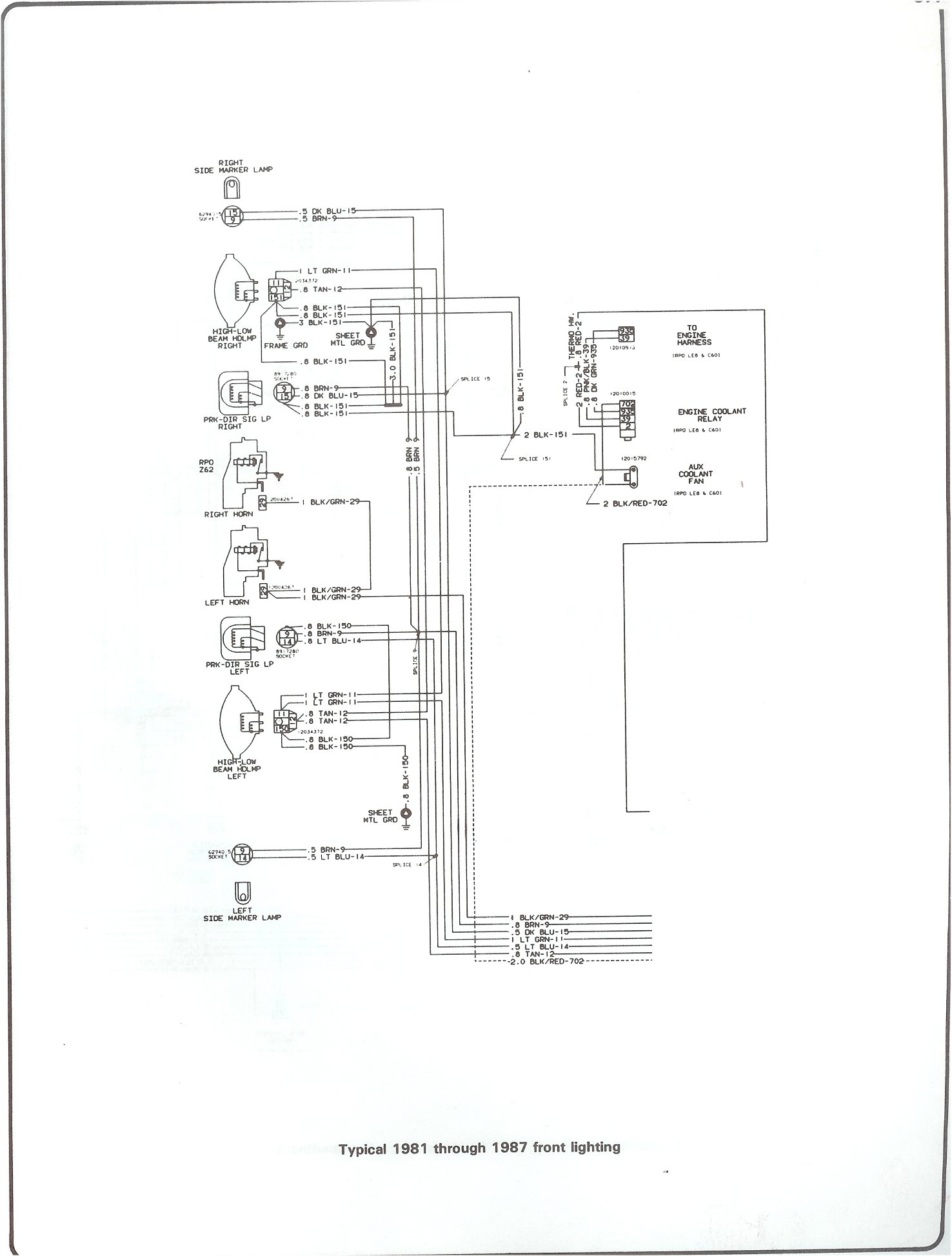 81-87 front lighting  brake light switch wiring diagram?