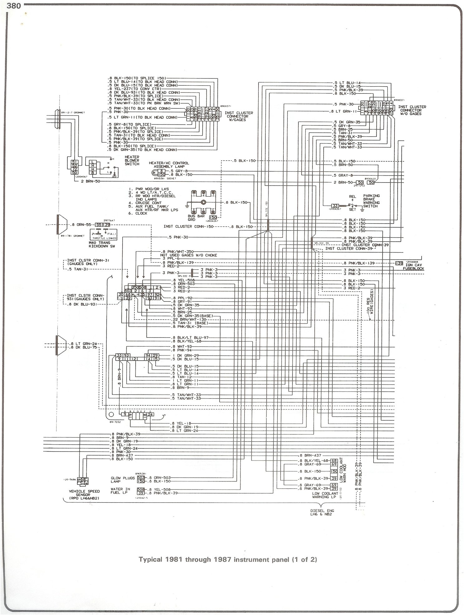 1986 gmc pickup wiring diagram complete 73 87 wiring diagrams 81 87 instrument panel page 1
